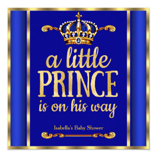 Royal Blue Navy Gold Prince on his way Baby Shower 13 Cm X 13 Cm Square Invitation Card