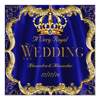 Royal Blue Navy Wedding Gold Crown 13 Cm X 13 Cm Square Invitation Card