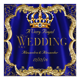 Royal Blue Navy Wedding Gold Crown Card