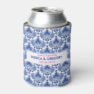 Royal Blue On White Elegant Damasks Can Cooler