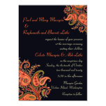 Royal Blue Orange Paisley Floral Indian Wedding 13 Cm X 18 Cm Invitation Card