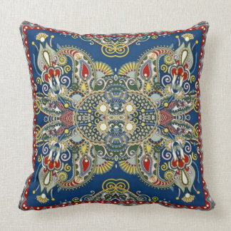 Royal Blue Oriental Design Cushion