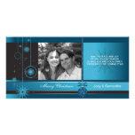 Royal - Blue ornament christmas holiday photocard Personalised Photo Card