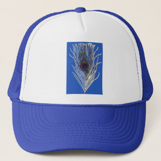 Royal Blue Peacock Feather Trucker Hat