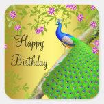 Royal Blue Peacock Happy Birthday Sticker
