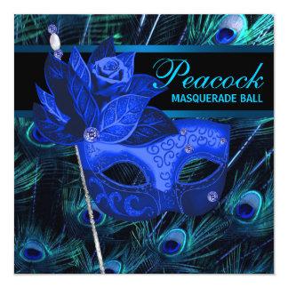 Royal Blue Peacock Masquerade Party 13 Cm X 13 Cm Square Invitation Card