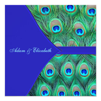 Royal Blue Peacock Wedding 13 Cm X 13 Cm Square Invitation Card