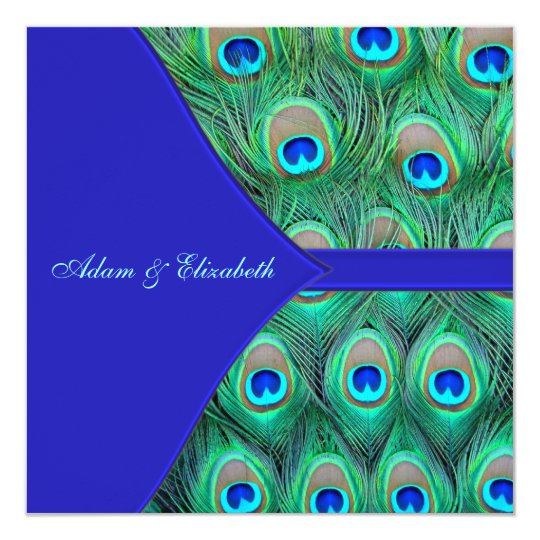Royal Blue Peacock Wedding Card