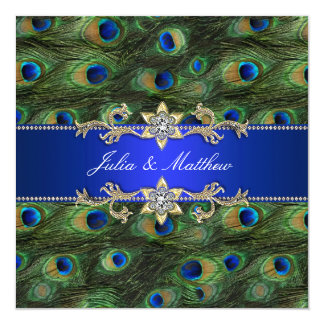 Royal Blue Peacock Wedding Invitation