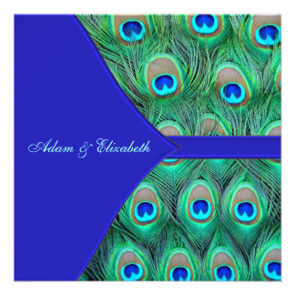 Royal Blue Peacock Wedding Personalized Announcement