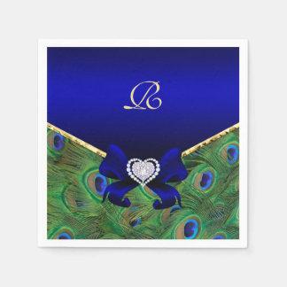 Royal Blue Peacock Wedding Paper Party Napkins Disposable Napkins