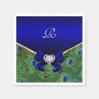 Royal Blue Peacock Wedding Paper Party Napkins Disposable Serviette