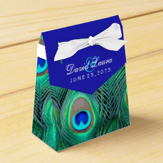 Royal Blue Peacock Wedding Party Favour Boxes