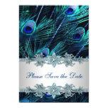 Royal Blue Peacock Wedding Save the Date 13 Cm X 18 Cm Invitation Card
