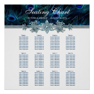 Royal Blue Peacock Wedding Seating Chart