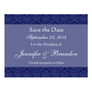 Royal Blue & Periwinkle Damask Save Date Postcard