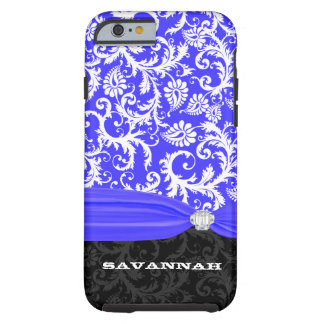 Royal Blue Personalized Faux Diamond Damask iPhone Tough iPhone 6 Case