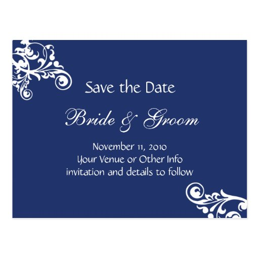 Royal Blue Personalized Flourish Save the Date Post Card