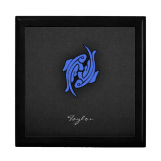Royal Blue Pisces Large Square Gift Box