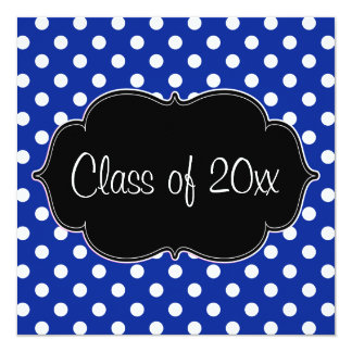 Royal Blue Polka Dot Graduation Announcement