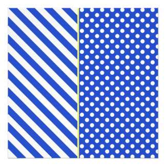 Royal Blue Polka Dots And Stripes by STaylor Art Photo