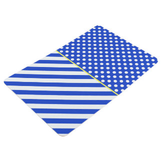 Royal Blue Polka Dots and Stripes by STaylor Floor Mat