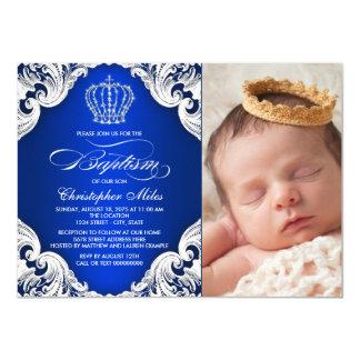 Royal Blue Prince Baptism Invitations