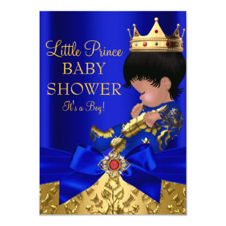 Royal Blue Prince Boy Baby Shower African American Card