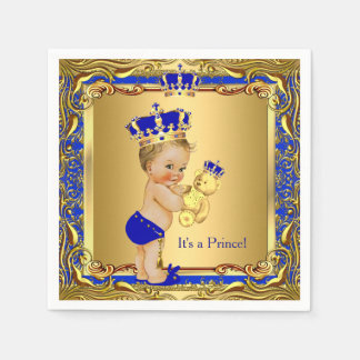 Royal Blue Prince Gold Crown Baby Shower Blonde Paper Napkins