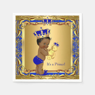 Royal Blue Prince Gold Crown Baby Shower Ethnic Disposable Napkins