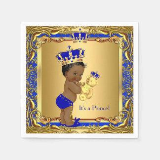 Royal Blue Prince Gold Crown Baby Shower Ethnic Disposable Serviette