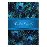 Royal Blue Purple Peacock Bridal Shower 13 Cm X 18 Cm Invitation Card