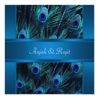 Royal Blue Purple Peacock Feathers Wedding 13 Cm X 13 Cm Square Invitation Card