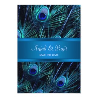 Royal Blue Purple Peacock Feathers Wedding 13 Cm X 18 Cm Invitation Card
