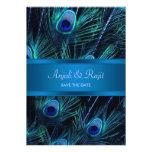 Royal Blue Purple Peacock Feathers Wedding Invitation