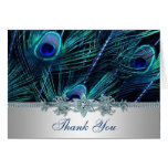 Royal Blue Purple Peacock Feathers Wedding Note Card