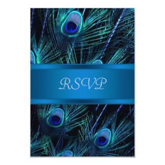 Royal Blue Purple Peacock Wedding RSVP Cards 9 Cm X 13 Cm Invitation Card