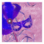 Royal Blue Purple Pink Masquerade Party Personalized Invitations