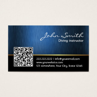 Royal Blue QR code Diving Business Card