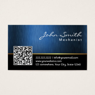 Royal Blue QR code Mechanic Business Card