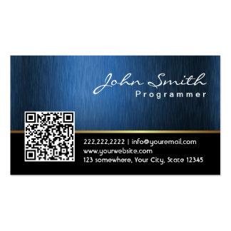 Royal Blue QR code Programmer Business Card