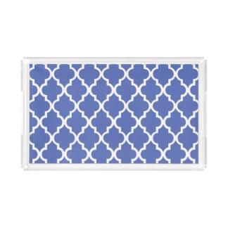 Royal Blue Quatrefoil Tiles Pattern Acrylic Tray