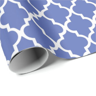 Royal Blue Quatrefoil Tiles Pattern Wrapping Paper
