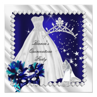 Royal Blue Quinceanera 15th Masquerade Party 13 Cm X 13 Cm Square Invitation Card