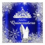 Royal Blue Quinceanera Silver Tiara 15th Birthday Personalised Invite
