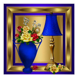Royal Blue Red Vase of Roses Red Lamp Luxury Poster