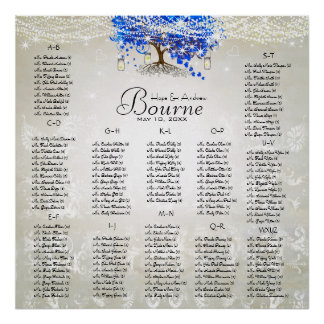 Royal Blue Romantic Heart Leaf Tree Poster