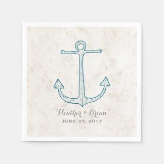 Royal Blue Rustic Anchor Wedding Disposable Serviettes