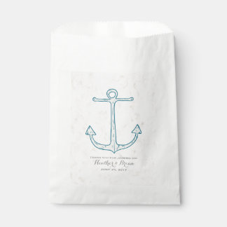 Royal Blue Rustic Anchor Wedding Favour Bags