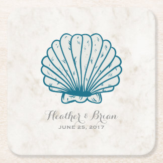 Royal Blue Rustic Seashell Wedding Square Paper Coaster